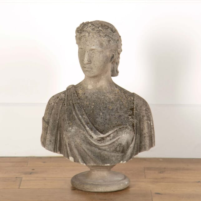 Stone Female Bust Sculpture on Soccle Base GA558657