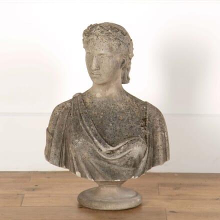 Stone Female Bust Sculpture on Soccle Base GA558657