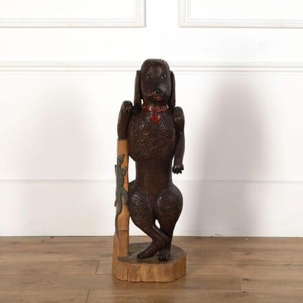 Tall Wooden Dog Sculpture DA558651