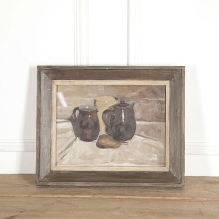 'Three Vessels with a Pear on White' Painting WD688048
