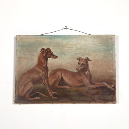 Oil on Canvas Painting of Whippets WD6061944