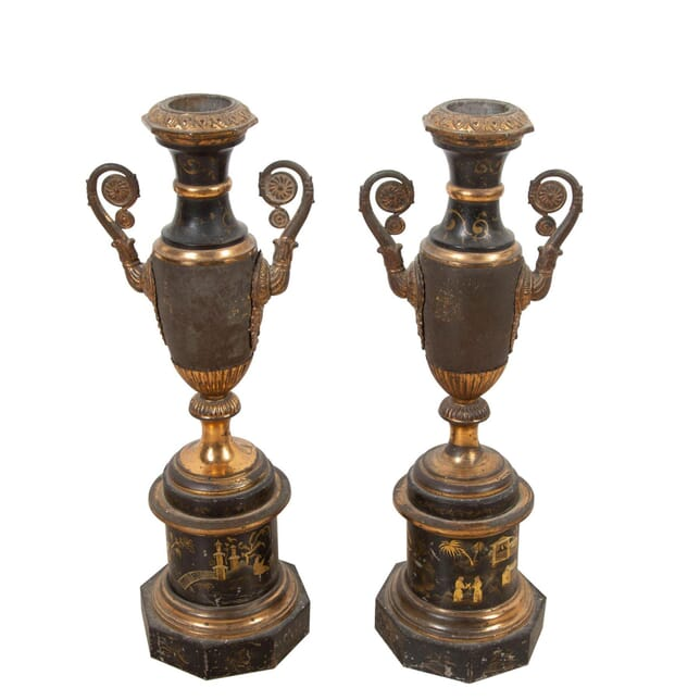 Early 19th Century Tole Urns on Stands DA0153838