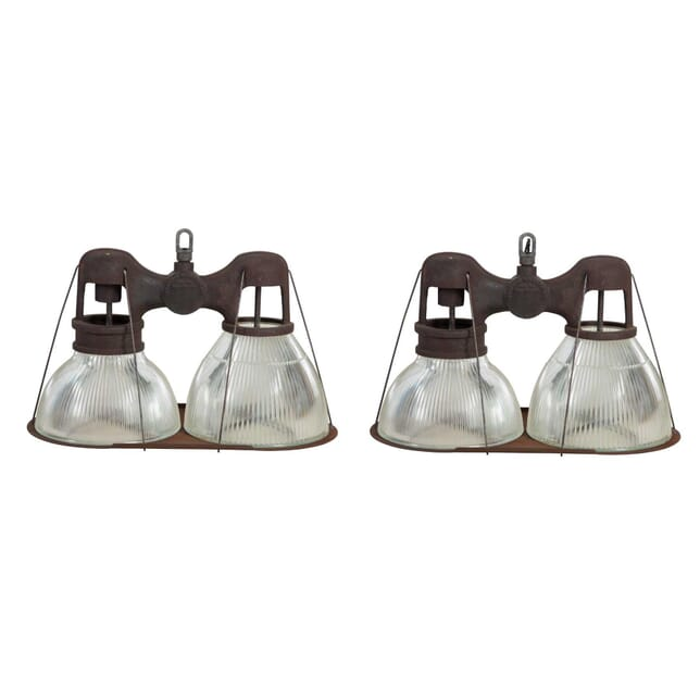 Two American Double Halophane Lights LC2311384