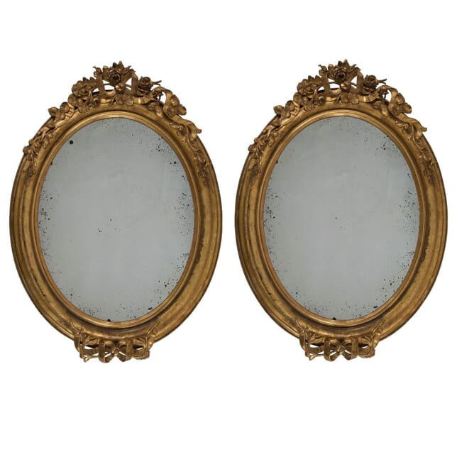 Pair of Large Mid 19th Century Carved Gilt Mirrors MI175597
