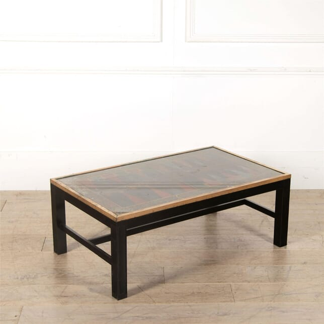 Glass Coffee Table with Backgammon Design CT137219