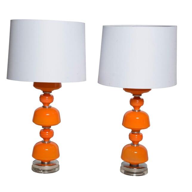 Pair of Orange Murano Glass Lamps LT4058217