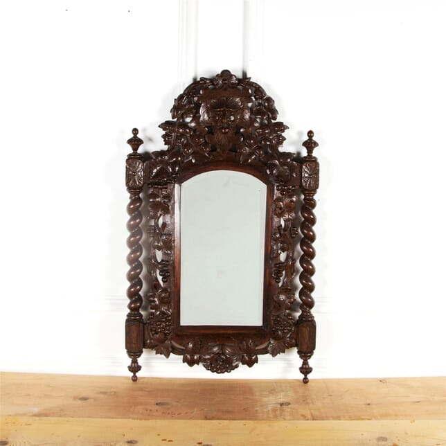 French 19th century Provencal Carved Deocrative Foliate Dark Wooden Mirror With Barley Twist Arms, Bevelled Mirror And Grapes & Vines MI5960995
