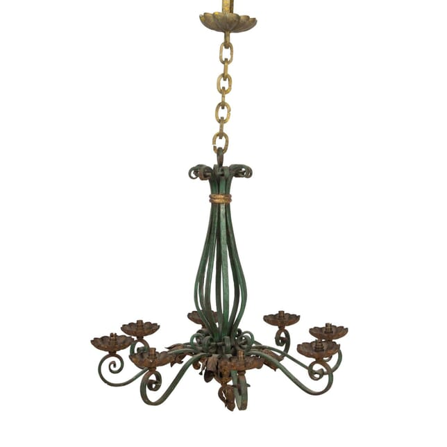 Green and Yellow Cast Iron Chandelier LC5558051