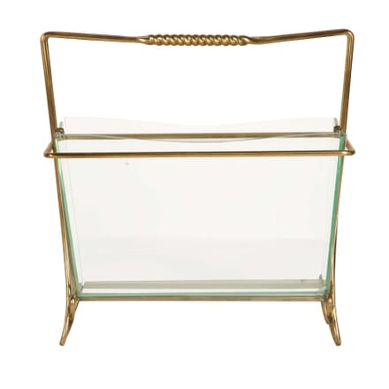 Brass and Glass Magazine Holder by Cristal Arte OF3059540
