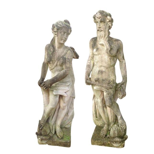Pair of Stone Figures of Neptune and Salacia GA4259294