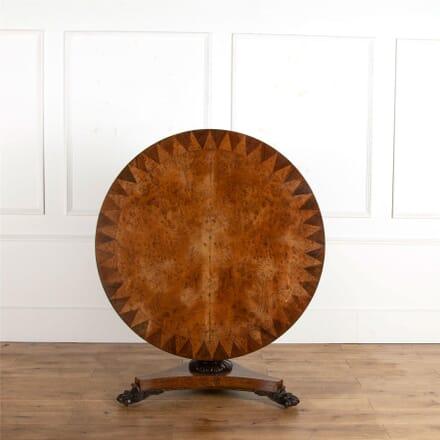 Burr Oak and Rosewood Banded Tilt Top Centre Table TC107243