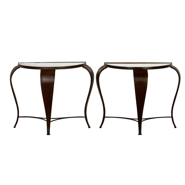 Pair of Iron Consoles with Mirrored Tops CO9954716