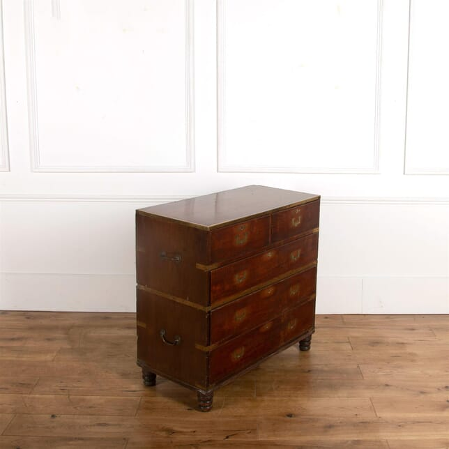 Early 19th Century Two Part Military Campaign Chest of Drawers CC107235