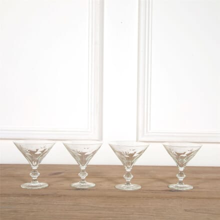 Four Crystal Martini Cocktail Glasses Circa 1940s DA5862054