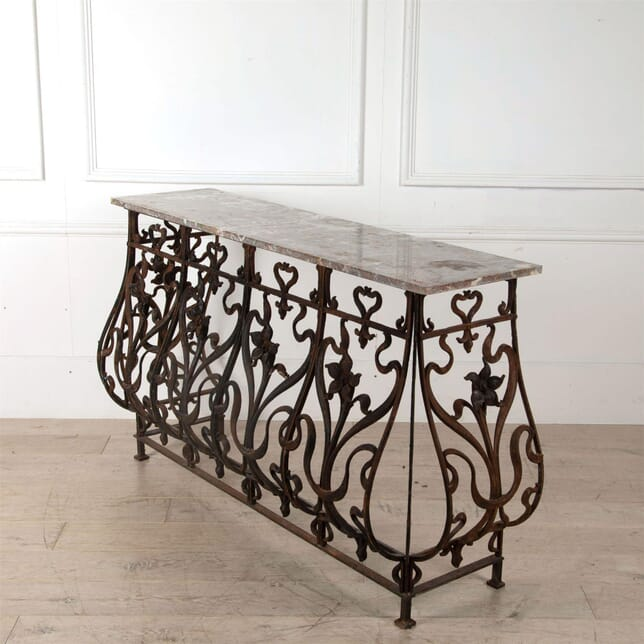 Wrought Iron Console with Rouge Marble Top CO6061322