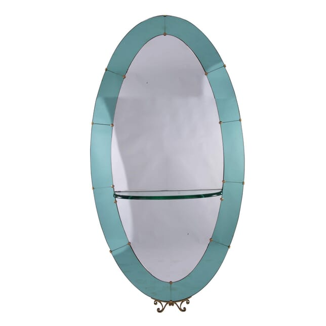 Large Italian 2 Coloured Glass  Oval Mirror MI5359303
