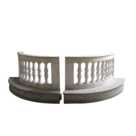 Pair of Wooden Curved Balustrades GA127457