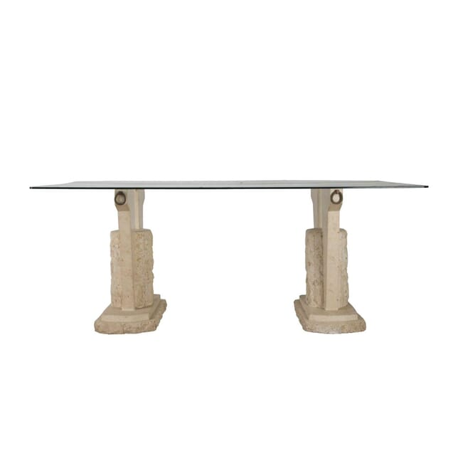 Travertine and Glass Centre Table TC9060449
