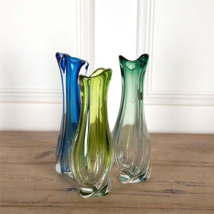 Val Saint Lambert Tall Crystal Vases DA5860322