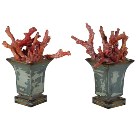Pair Red Bamboo Coral Planters DA289153