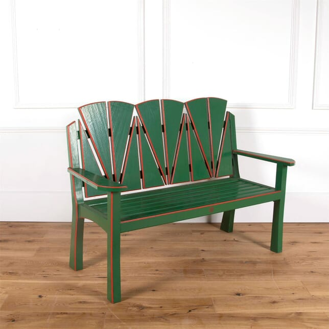 Art Deco Style Green and Red Painted Bench GA5861023