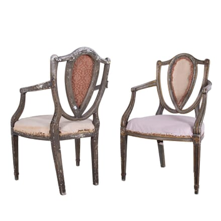 Pair of 19th Century Painted and Decorated Armchairs CH1060313