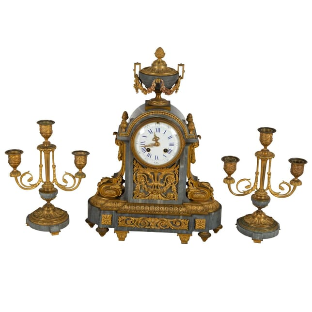French Marble & Gilt Metal Clock Garniture DA7260780
