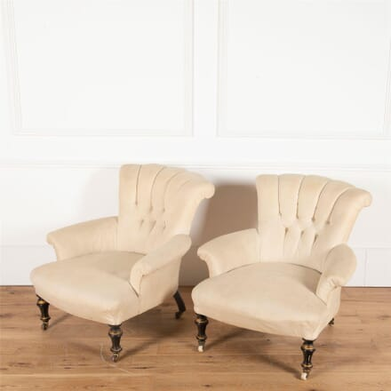 Pair of English 19th Century Button Back Armchairs CH2361219