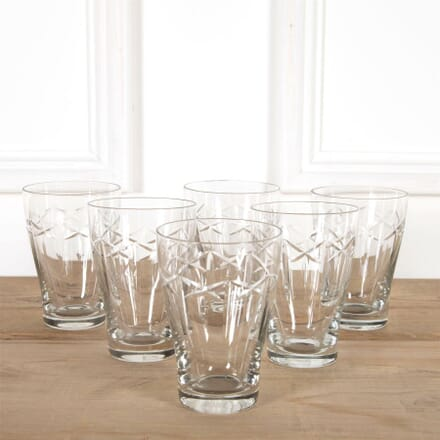 Six Edwardian Cut Crystal Tall Tumblers DA5860932
