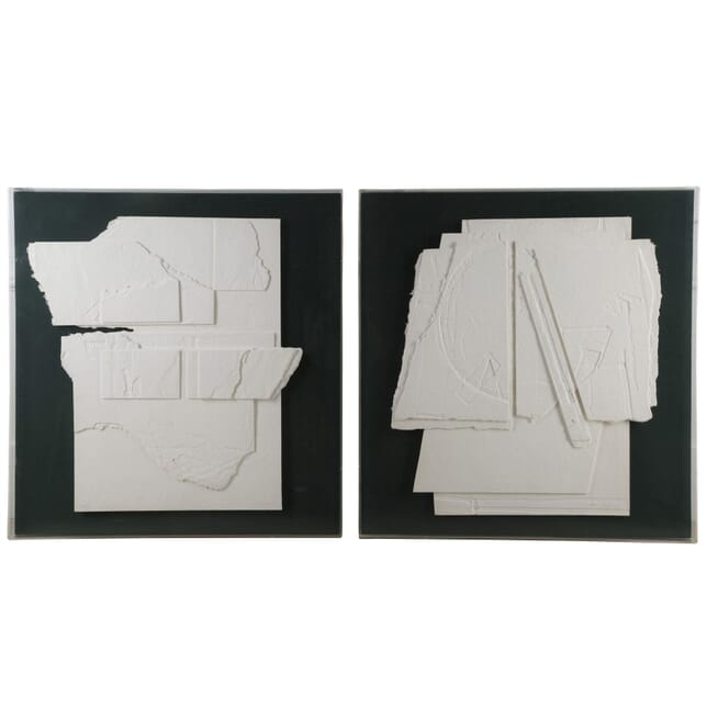 Pair of Large Hand Made Paper Collages WD3060006