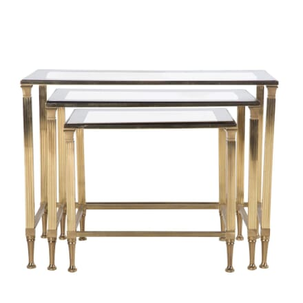 Nest of Brass and Glass Tables TC7360598