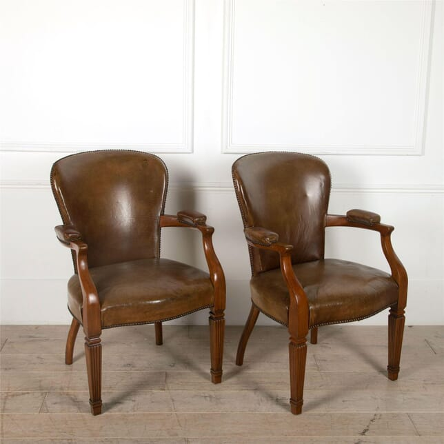 French Walnut Leather Armchairs CH4861676