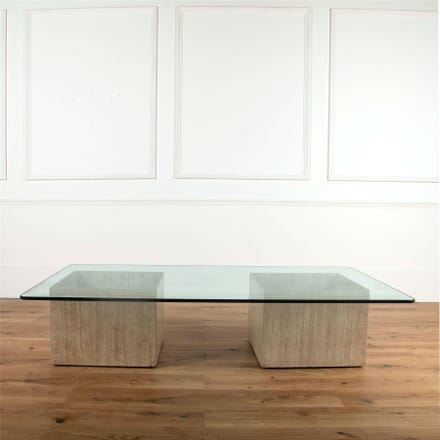 20th Century Travertine Coffee Table With Glass Top CT377768