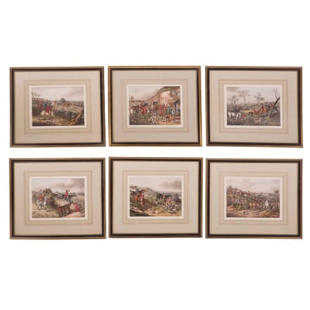 Set of Six Engraved 19th Century Hunt Prints WD2859599