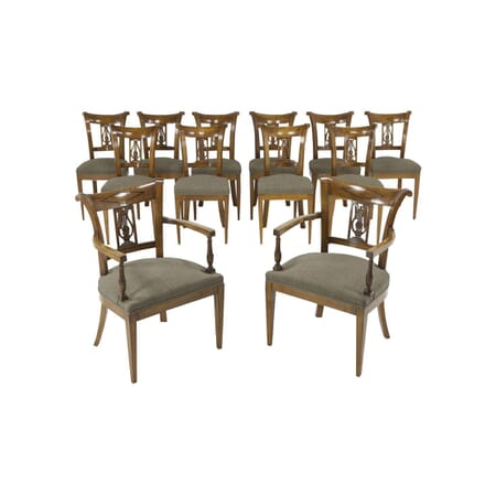 Set of Twelve 19th Century Austrian Cherry Wood Dining Chairs CD067412
