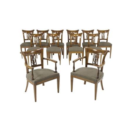 Set of Twelve 19th Century Austrian Cherry Wood Dining Chairs CD067412