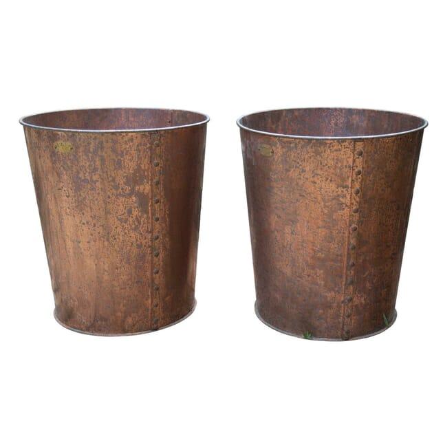 Round Contemporary Copper Garden Planter GA4257260