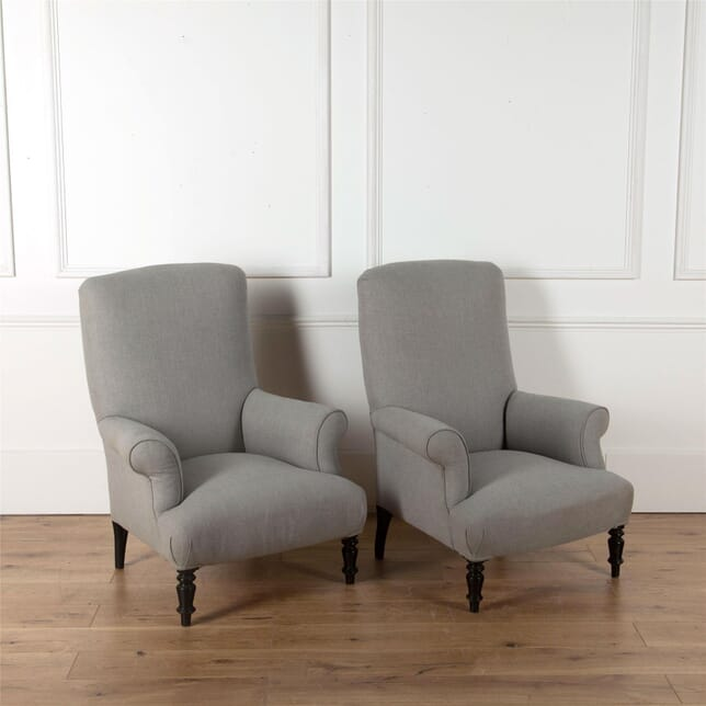 Pair of grey upholstered chairs CH7362426