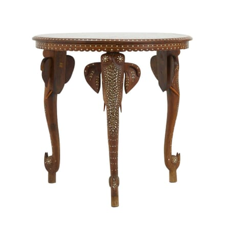 Indian Teak and Bone Inlaid Occasional Table TC0660350