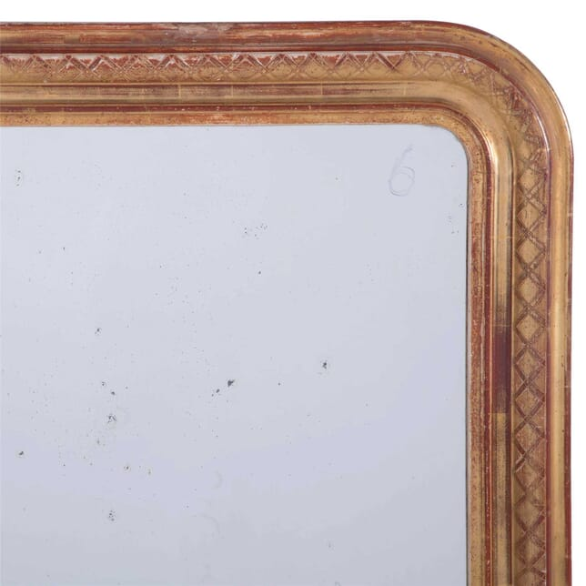 Gilt Louis Philippe Mirror with Cross Banded Decoration MI7159827
