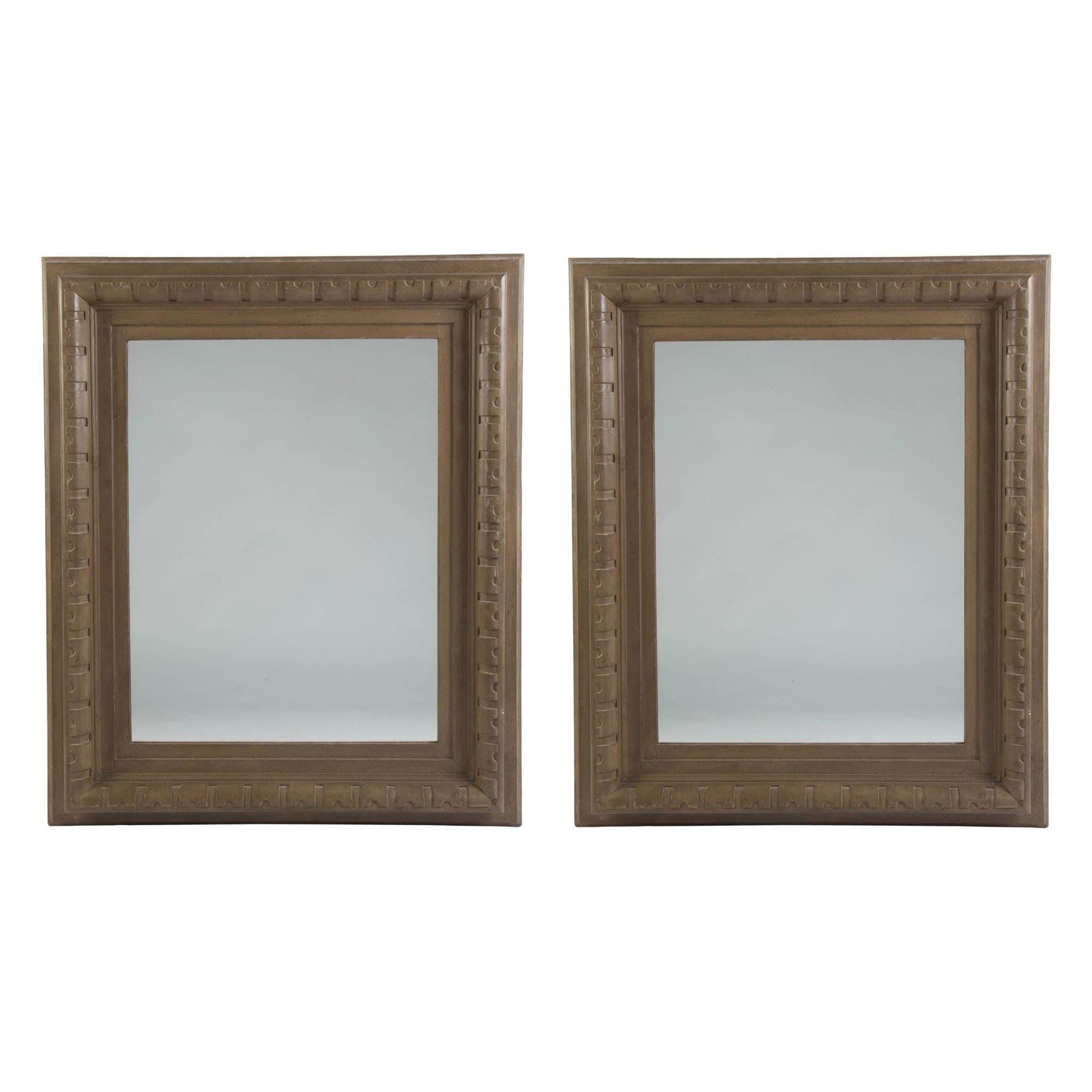 Pair Of Large Architectural Wooden Framed Mirrors