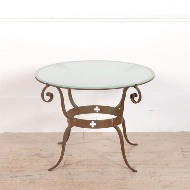 Circular 20th Century Wrought Iron & Glass Table CT2962071