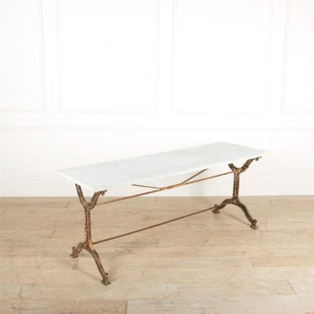 Long French Cast Iron Table With Marble Top CO447685