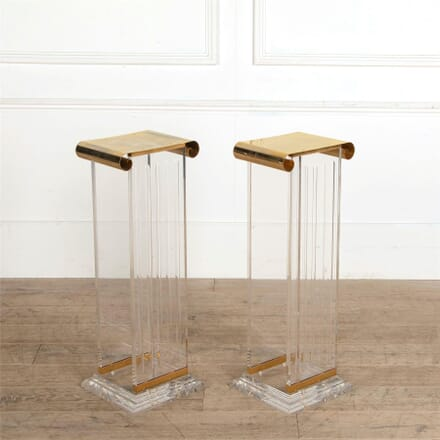 Pair of Gilded Metal and Lucite Plinths OF307336