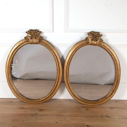 19th Century Italian Gilded Oval Mirrors MI4762171