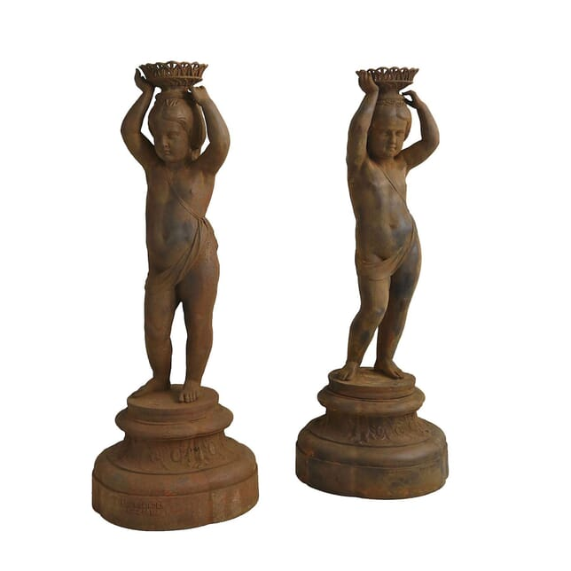 Pair of Cast Iron Figures of Girls GA1258972