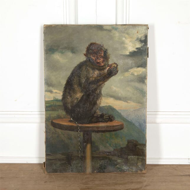 Oil on panel painting of a monkey WD607777