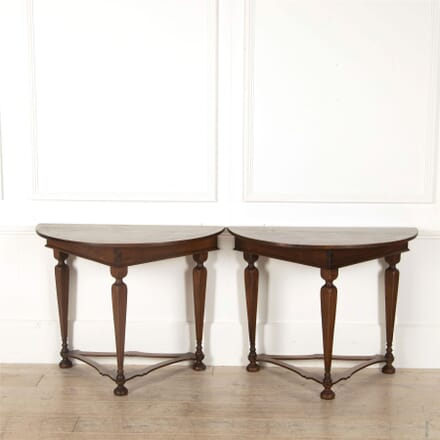 Pair of Early 19th Century Tuscan Walnut Demi Lune Consoles CO417209