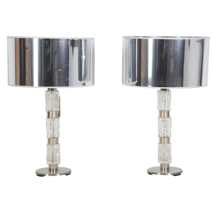 Pair 1960's Italian Lucite side lamps with modern reflective shades LT289187