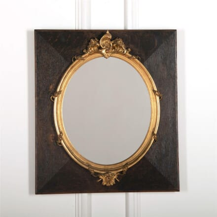 Decorative gilt board-mounted oval mirror MI727540
